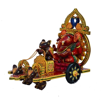 Wooden Lord Ganesha on Chariot
