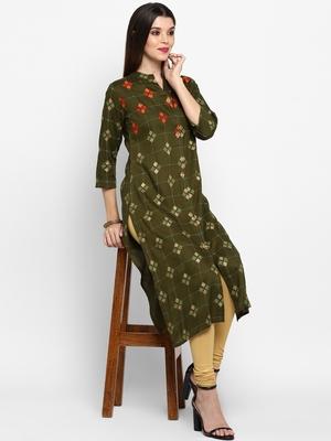 Mahendi Green Color Printed Rayon Straight Kurti