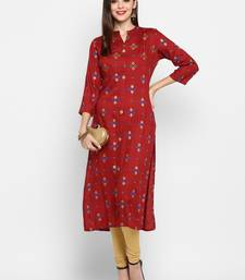 Maroon Color Printed Rayon Straight Kurti