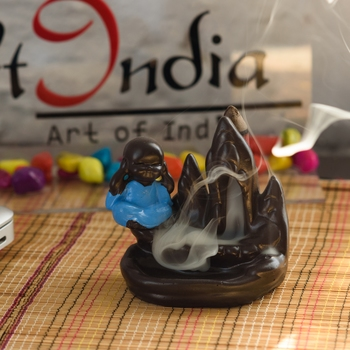 Meditating Monk Buddha Smoke Fountain with 10 Backflow Cone Decorative Incense Holder