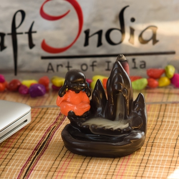 Meditating Monk Buddha Smoke Fountain with 10 Backflow Cone Decorative Incense Holder