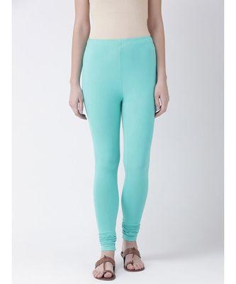 Aqua Marine Solid Cotton Lycra Legging