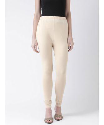 Beige Solid Cotton Lycra Legging