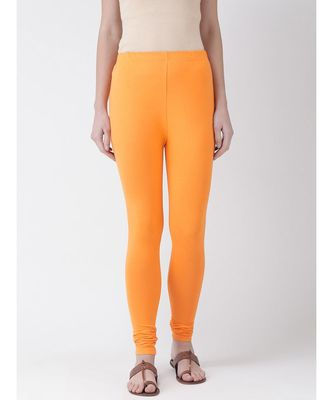 Orange Solid Cotton Lycra Legging