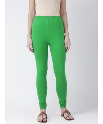 Dark Green Solid Cotton Lycra Legging
