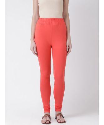 Peach Solid Cotton Lycra Legging