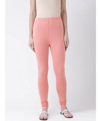 Light Pink Solid Cotton Lycra Legging