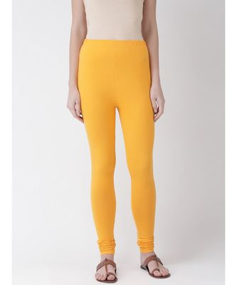 Mustard Solid Cotton Lycra Legging