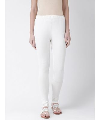 Off White Solid Cotton Lycra Legging