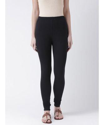 Black Solid Cotton Lycra Legging