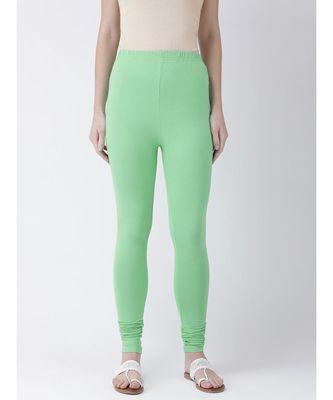 Sea Green Solid Cotton Lycra Legging