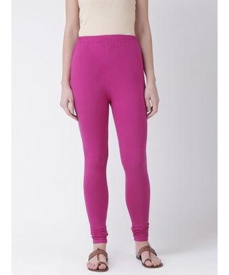 Magenta Solid Cotton Lycra Legging