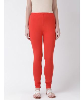 Red Solid Cotton Lycra Legging