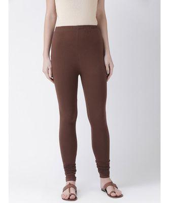 Brown Solid Cotton Lycra Legging