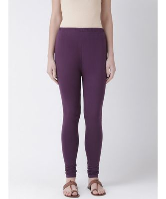 Purple Solid Cotton Lycra Legging
