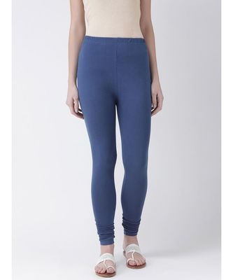 Navy Blue Solid Cotton Lycra Legging