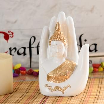 Decorative Palm Buddha Figurine Showpiece - 17 cm        (Polyresin, White)