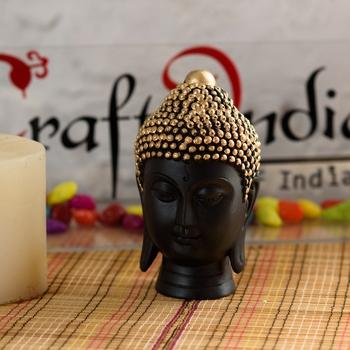 Buddha Head(13 Cm X 8 Cm, Golden)