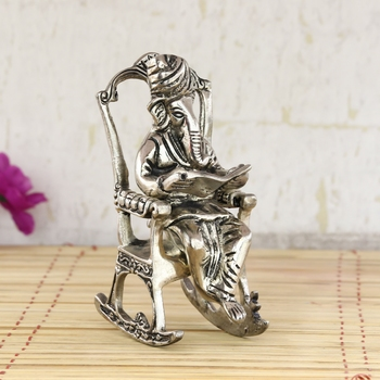 Lord Ganesha on Rocking Chair Antique Showpiece