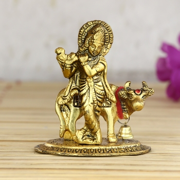 Lord Krishna playing Flute with Golden Cow Showpiece