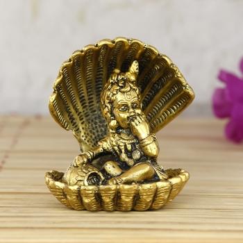 Golden Bal Gopal Krishna having Makhan Decorative Showpiece