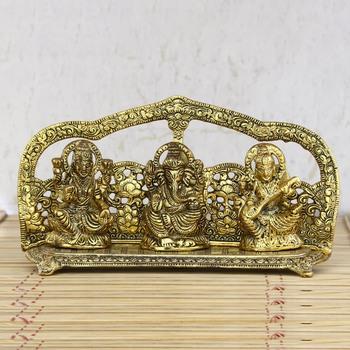 Golden Laxmi Ganesha Saraswati Shining Religious Decorative Showpiece