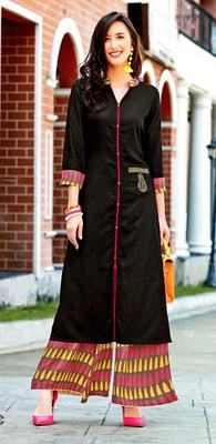 Black Rayon Block Print Embroidered  Partywear Kurti Palazzo