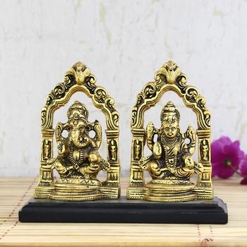 Golden Metal Statue of Goddess Laxmi and Lord Ganesha