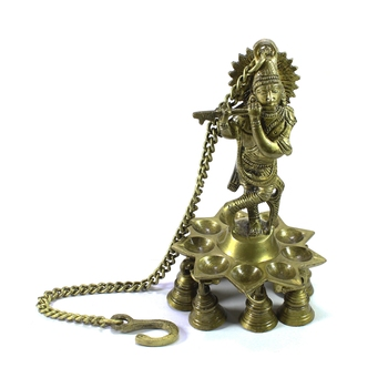 Brass Lord Krishna Playing FluteWall Hanging with 9 Oil Wick Diya