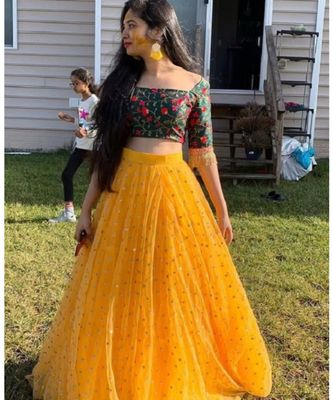 Yellow Colored Georgette Designer Lehenga Choli
