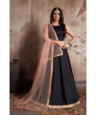 Black Colored Silk Designer Lehenga Choli With Dupatta