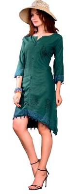 Teal Cotton Block Print Embroidered  Partywear Kurti
