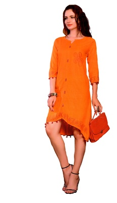 Orange Cotton Block Print Embroidered  Partywear Kurti