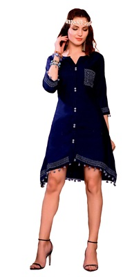 blue cotton block print embroidered  partywear Kurti
