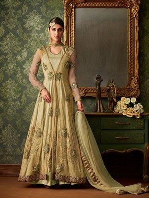 Olive Color Blended Silk Designer Anarkali Suit