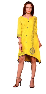 yellow cotton block print embroidered  partywear Kurti