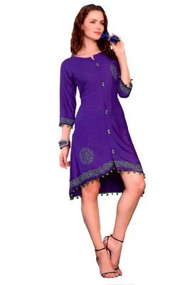 Purple Cotton Block Print Embroidered  Partywear Kurti