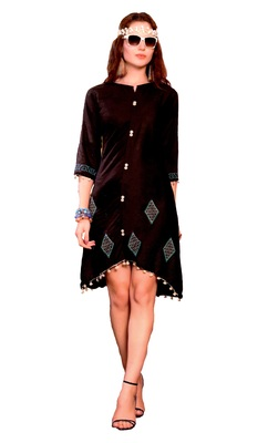 Brown Cotton Block Print Embroidered  Partywear Kurti
