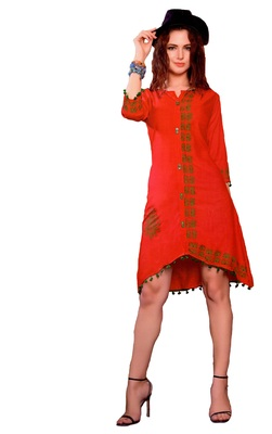 Red Cotton Block Print Embroidered  Partywear Kurti
