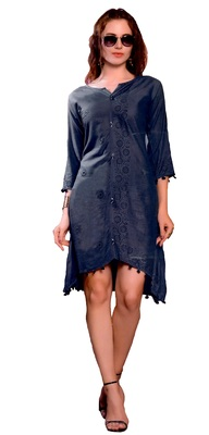 grey cotton block print embroidered  partywear Kurti