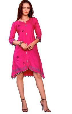 Pink Cotton Block Print Embroidered  Partywear Kurti