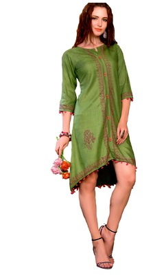 green cotton block print embroidered  partywear Kurti