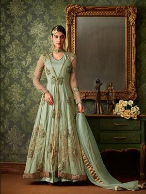 Pista Green Color Blended Silk Designer Anarkali Suit