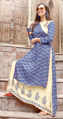 blue rayon block print embroidered  partywear Kurti Dress