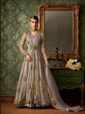 Light Silver Color Blended Silk Designer Anarkali Suit
