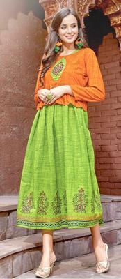 green rayon block print embroidered  partywear Kurti Dress