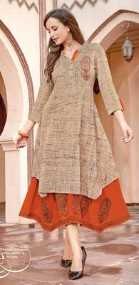 Beige Rayon Block Print Embroidered  Partywear Kurti Dress
