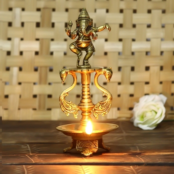 Lord Ganesha Deepak Brass Oil Wick Diya Stand