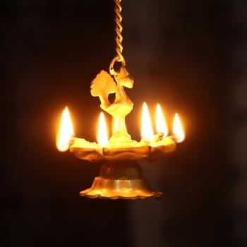 Peacock Deepak Golden Chain Brass Hanging Oil Wick Diya