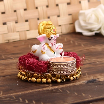 Lord Ganesha Idol on Decorative Plate with Tea Light Holder